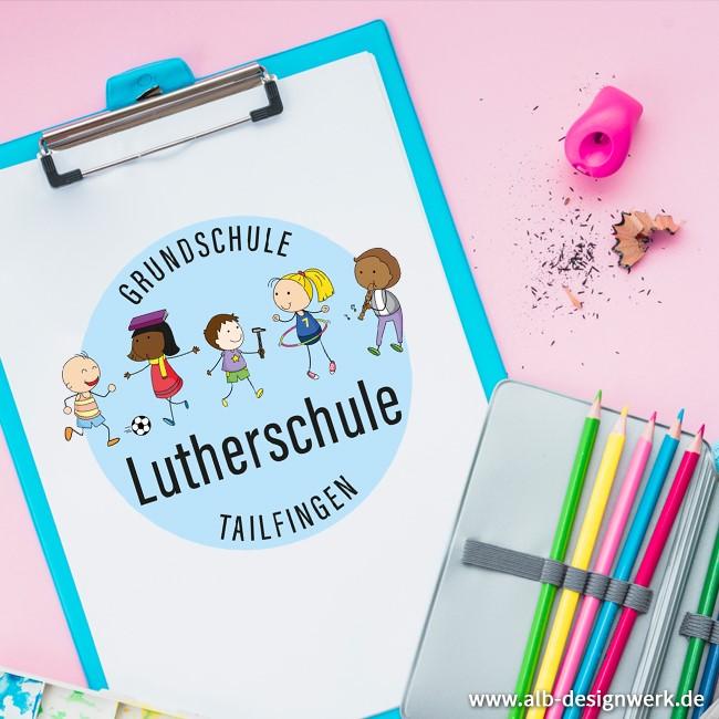 Logo Schule Grundschule Ganztagesschule bunt Kinder