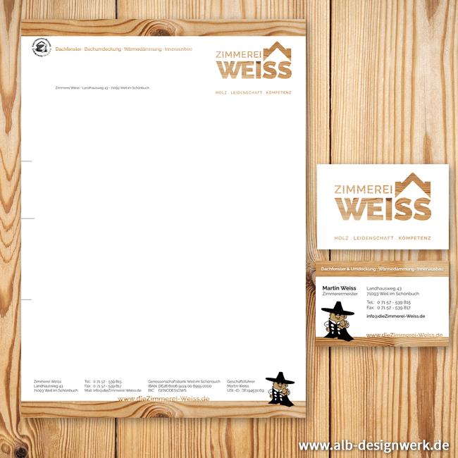 www.dieZimmerei-Weiss.de Visitenkarten und Briefbogen