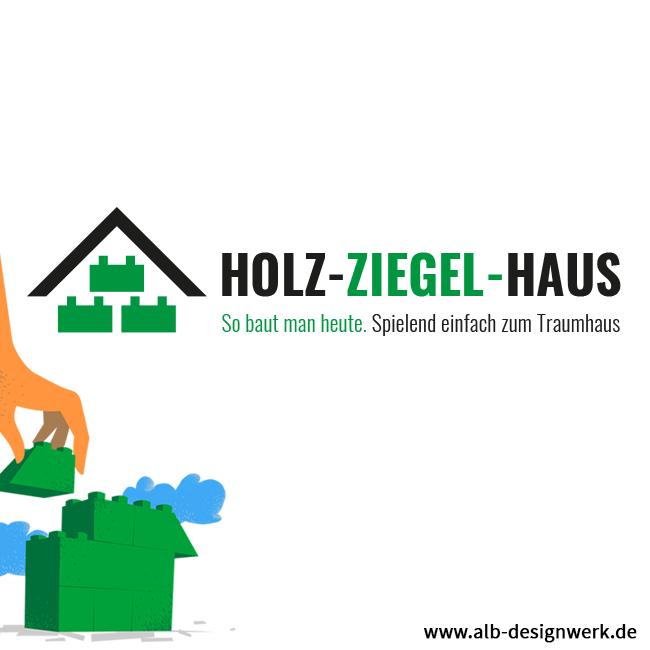 Hausbau Holz Logo-Design Holzhaus