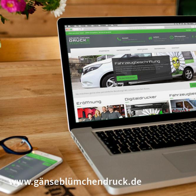 Homepage, Texte, Bildbearbeitung, Konzeption www.gänseblümchendruck.de